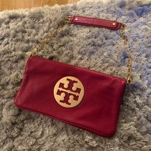 Red and gold Tory Burch shoulder bag